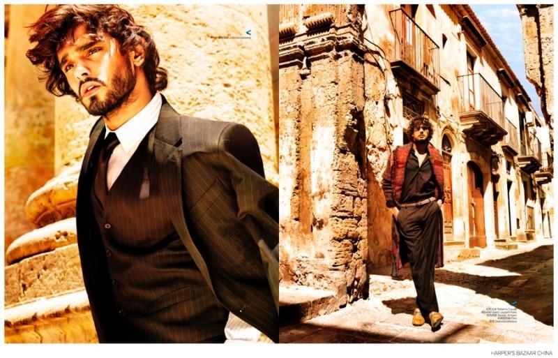 演繹西西里式優雅,Marlon Teixeira 出鏡《Harper's Bazaar Man》 中國版 2014 九月刊 3