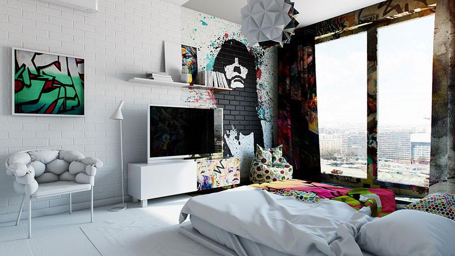 Half White, Half Graffiti:烏克蘭藝術家打造衝突感 Hotel Room,挑戰你我視覺神經 1