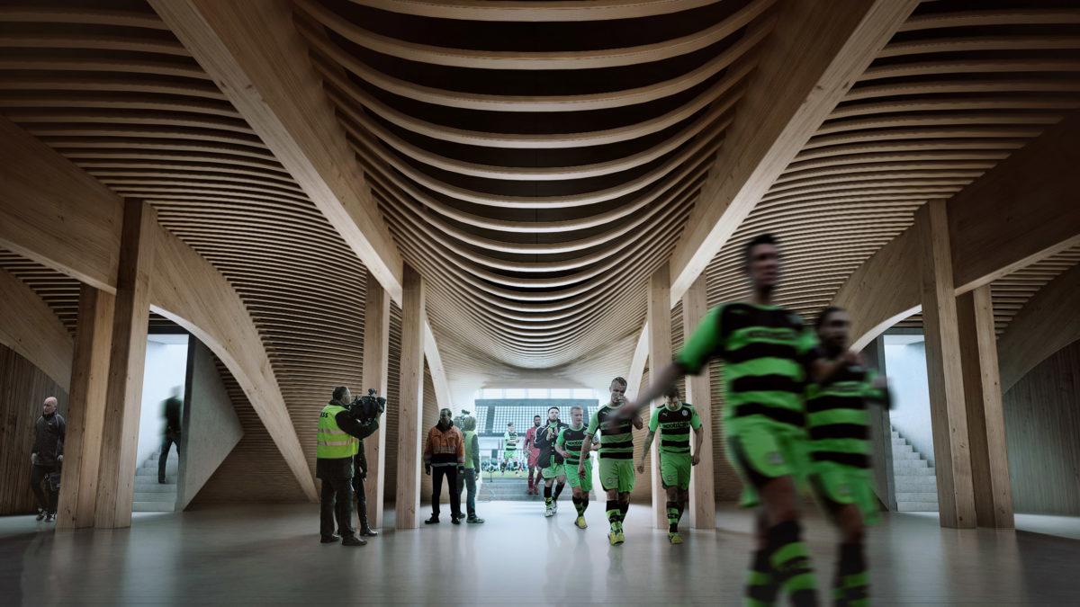 wooden football stadium BY Zaha Hadid Architects 1